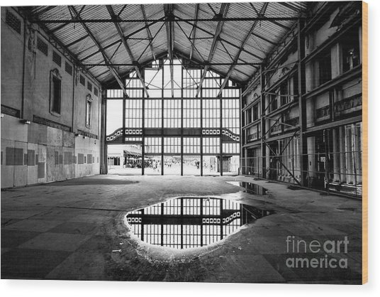 Past Reflections At The Casino Building In Asbury Park Wood Print