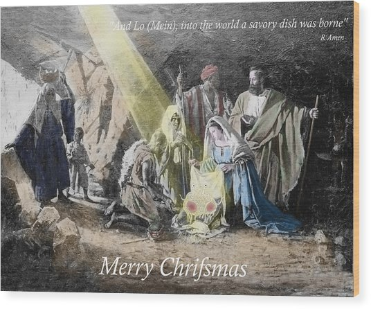 Pastafarian Merry Chrifsmas Scene Wood Print