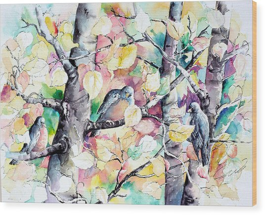 Pastel Aspen With Robins Wood Print