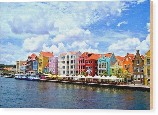 Pastel Building Coastline Of Caribbean Wood Print