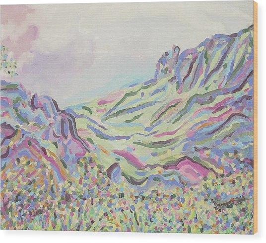 Pastel Landscape Wood Print by Suzanne  Marie Leclair