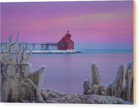 Pastel Lighthouse Wood Print
