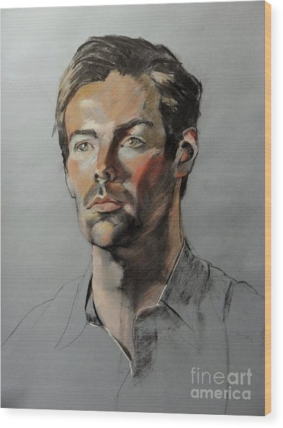 Pastel Portrait Of Handsome Guy Wood Print
