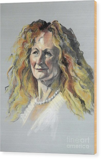 Pastel Portrait Of Woman With Frizzy Hair Wood Print