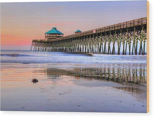 Pastel Sunrise On Folly Beach Pier In Charleston South Carolina Wood Print