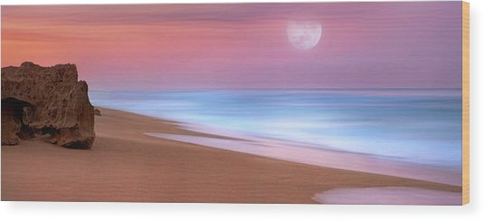 Pastel Sunset And Moonrise Over Hutchinson Island Beach, Florida. Wood Print