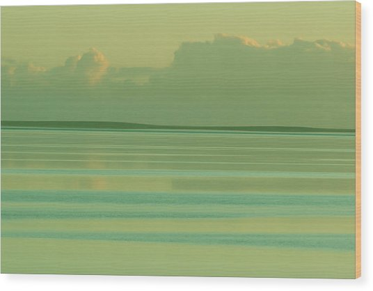 Pastel Sunset Sea Green Wood Print by Tony Brown