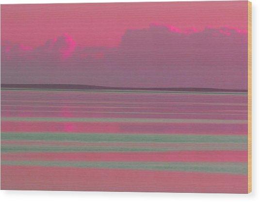 Pastel Sunset Sea Pink Wood Print