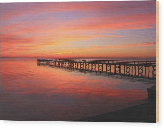 Pastels At The Hilton Fishing Pier  Wood Print