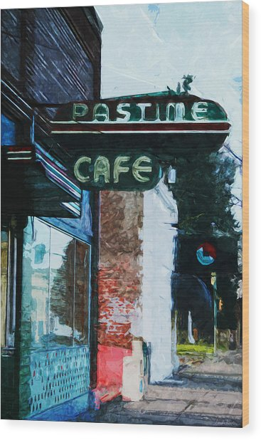 Pastime Cafe- Art By Linda Woods Wood Print