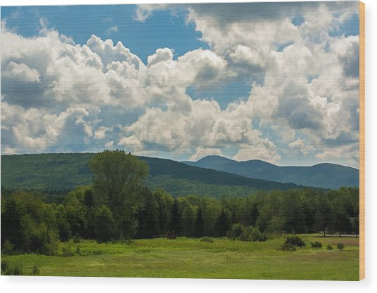 Pastoral Landscape With Mountains Wood Print