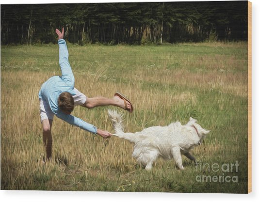 Pasture Ballet Human Interest Art By Kaylyn Franks   Wood Print