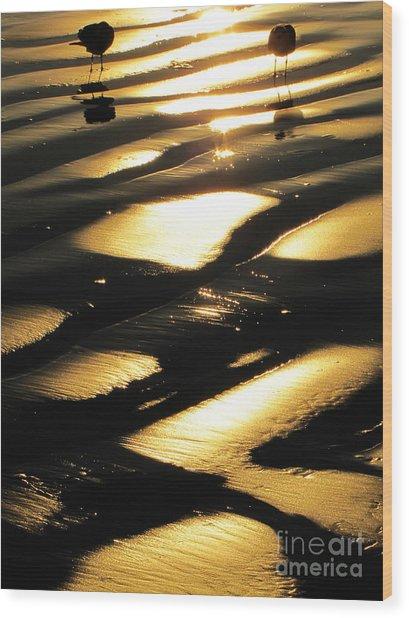 Patchwork Daytona Beach And Seagulls Wood Print