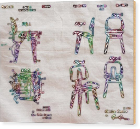 Patent Eames Chair Drawing Neon Print Poster Wood Print