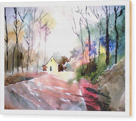 Path In Colors Wood Print
