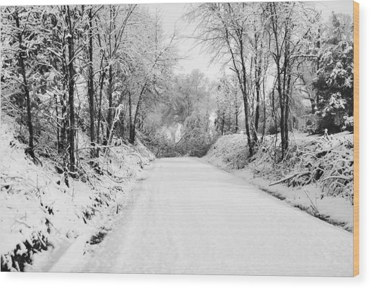 Path In The Snow Wood Print by Michelle Shockley