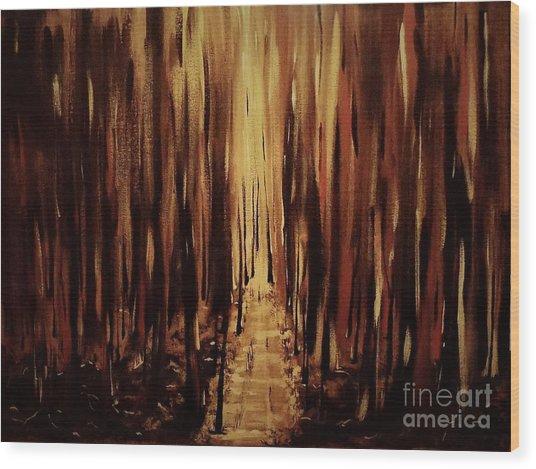 Path Of Gold Wood Print