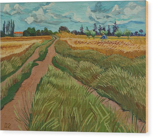Path Through A Wheat Fields Wood Print by Vitali Komarov