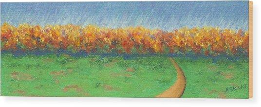 Path To Autumn Trees Wood Print