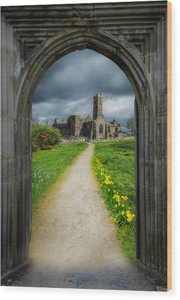 Wood Print featuring the photograph Path To Ireland's Quin Abbey, County Clare by James Truett