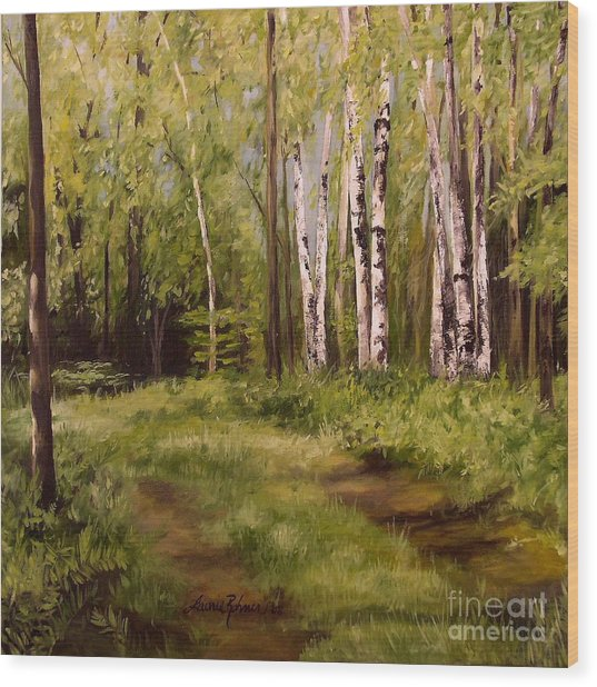 Path To The Birches Wood Print