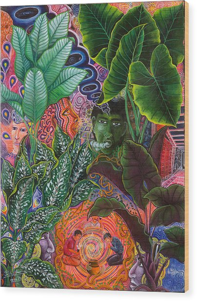 Wood Print featuring the painting Patinguina Samai  by Pablo Amaringo