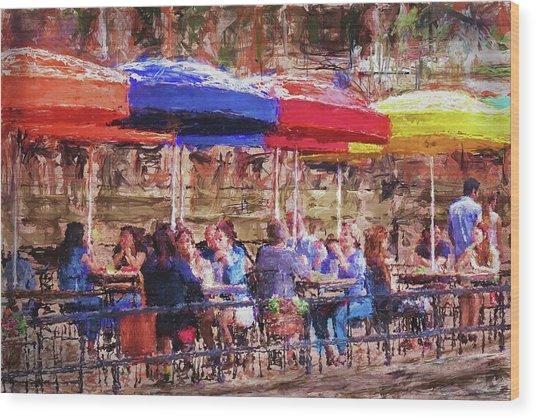 Patio At The Riverwalk Wood Print