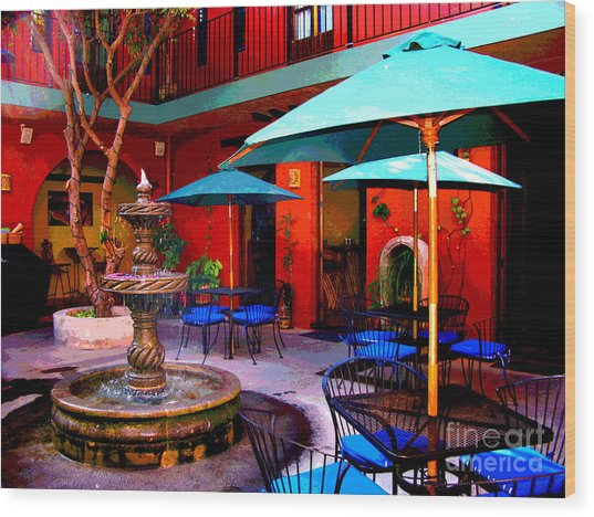 Patio Fountain At Casa De Leyendas By Darian Day Wood Print by Mexicolors Art Photography