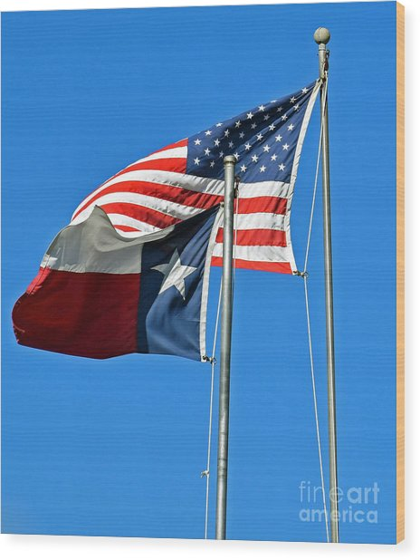 Patriot Proud Texan  Wood Print