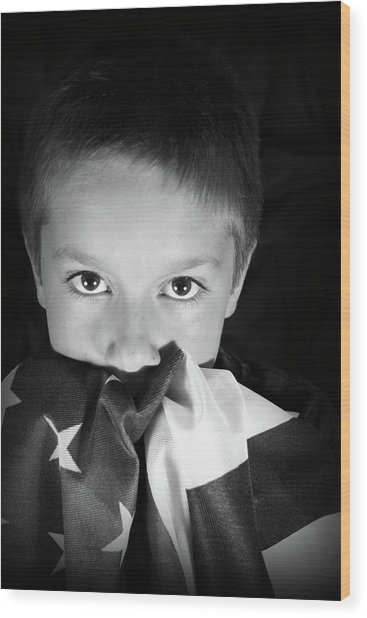 Patriotic Boy Wood Print