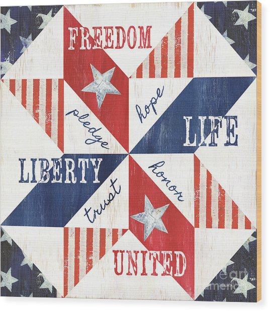 Patriotic Quilt 1 Wood Print