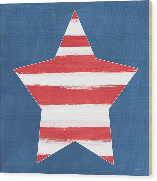 Patriotic Star Wood Print