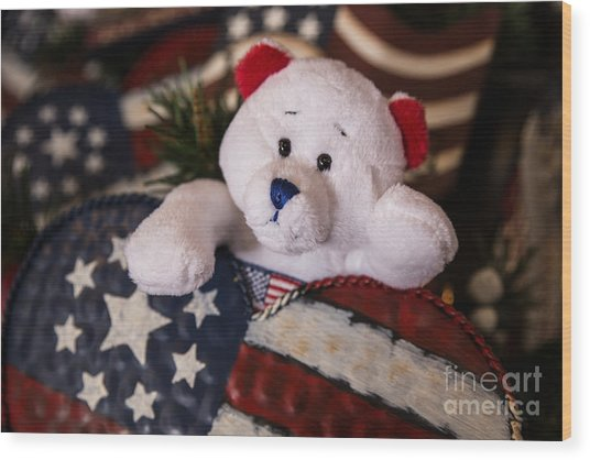 Patriotic Teddy Bear Wood Print