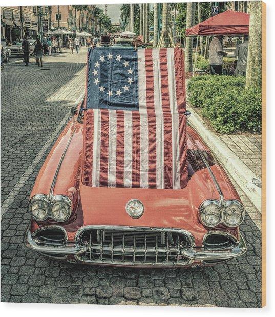 Patriotic Vette Wood Print