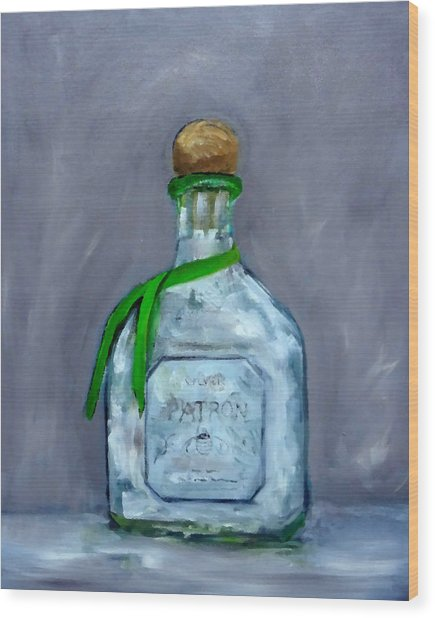 Patron Silver Tequila Bottle Man Cave  Wood Print