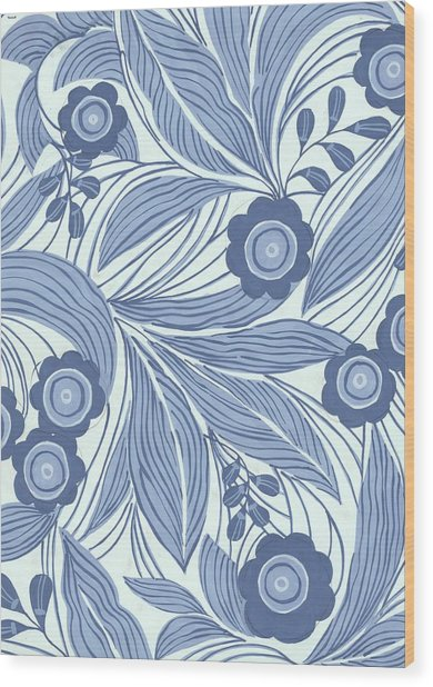 Pattern With Blue Leaves, Flowers Wood Print