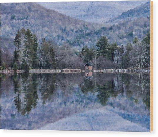Patterns And Reflections At The Lake Wood Print