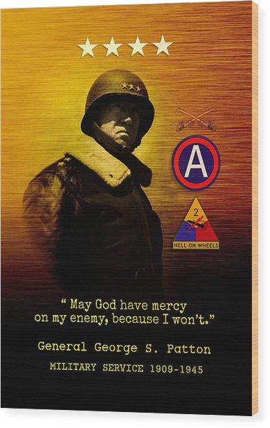 Patton Tribute Wood Print