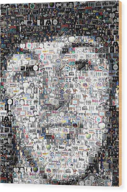 Paul Mccartney Beatles Mosaic Wood Print by Paul Van Scott
