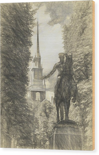Paul Revere Rides Sketch Wood Print