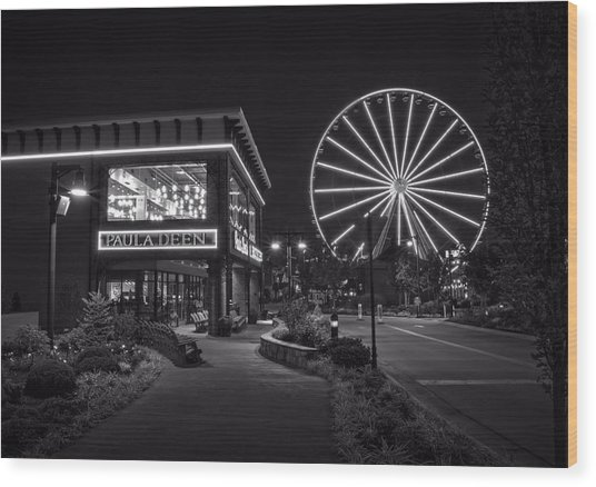 Paula Deen's At Night In Black And White Wood Print