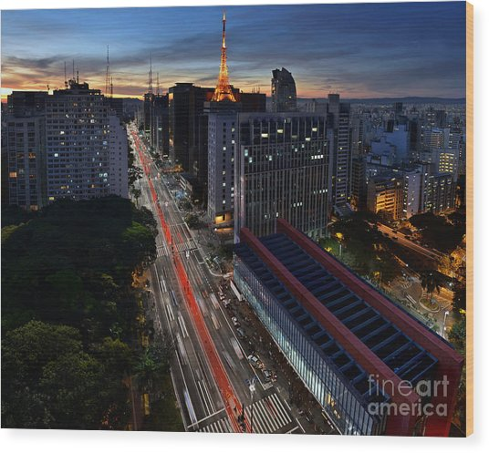 Paulista Avenue And Masp At Dusk - Sao Paulo - Brazil Wood Print