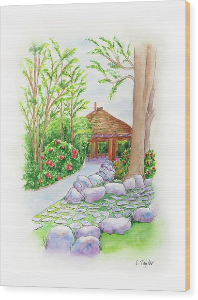 Pavilion Pathway Wood Print
