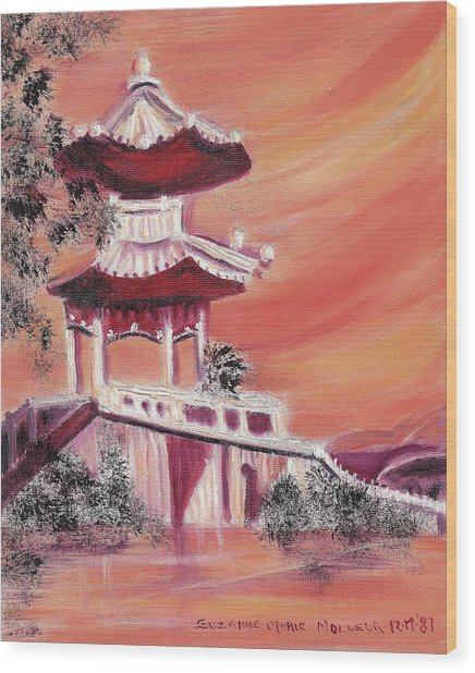 Pavillion In China Wood Print by Suzanne  Marie Leclair