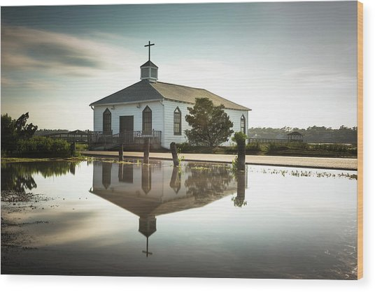 Pawleys Chapel Reflection Wood Print