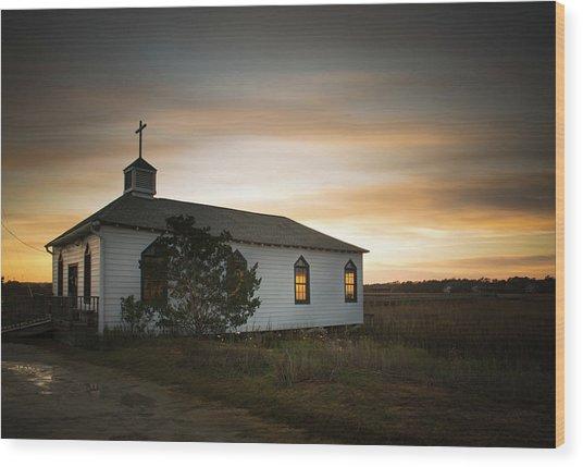 Pawleys Chapel Sunset Wood Print