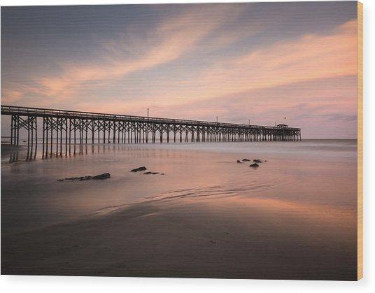 Pawleys Island Pier Sunset Wood Print