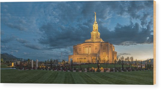 Payson Temple Panorama Wood Print