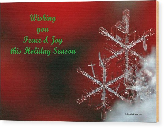 Peace And Joy Christmas Card Two Wood Print by Angela Patterson