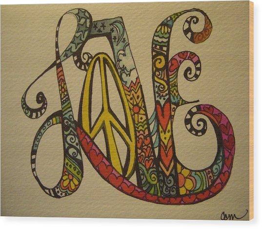 Peace And Love Wood Print